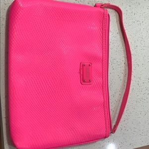Nine West Neon Pink clutch and device sleeve